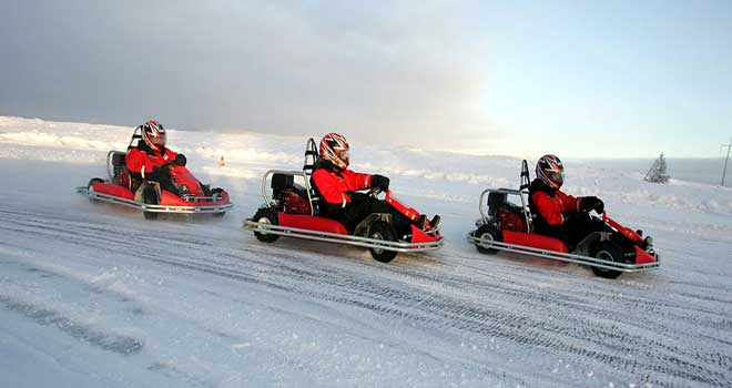 driving on ice with go karts in riga
